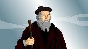 Uma gravura do tradutor da Bíblia John Wycliffe.
