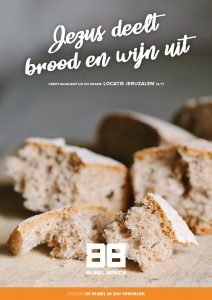 Jezus deelt brood en wijn uit