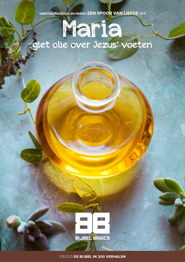 Maria giet olie over Jezus' voeten